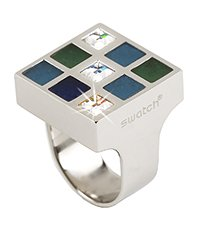 JRS0007-5 Prismatic Blue And Crystals Ring